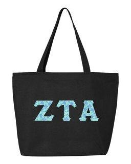Zeta Tau Alpha Greek Letter Zipper Tote