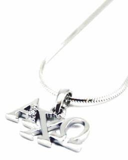 Alpha Chi Omega Horizontal Lavaliere with Lab-Created Diamonds