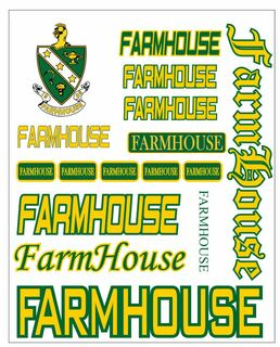 FarmHouse Fraternity Multi Greek Decal Sticker Sheet