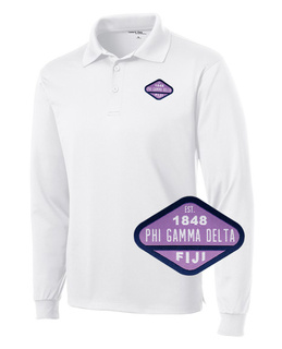 DISCOUNT-FIJI Fraternity Woven Emblem Greek Long Sleeve Dry Fit Polo