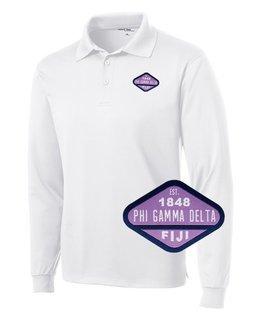 DISCOUNT-FIJI Fraternity Woven Emblem Greek Long Sleeve Dry Fit Polo