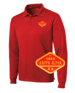 DISCOUNT-Kappa Alpha Woven Emblem Greek Long Sleeve Dry Fit Polo