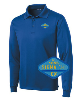 DISCOUNT-Sigma Chi Woven Emblem Greek Long Sleeve Dry Fit Polo