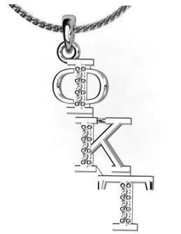 Phi Kappa Tau Sweet Heart Diagonal Silver Lavalier