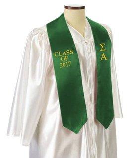 Sigma Alpha Embroidered Graduation Sash Stole