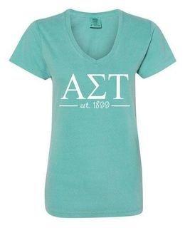 Alpha Sigma Tau Comfort Colors Custom V-Neck T-Shirt