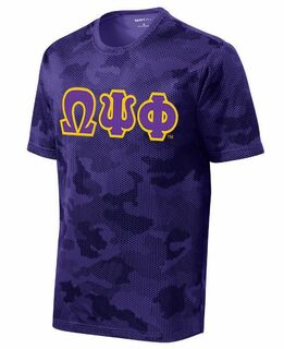 DISCOUNT-Omega Psi Phi Lettered Camouflage Hex Performance Tee