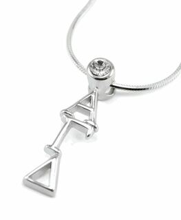 Alpha Gamma Delta Sterling Silver Lavaliere Pendant with Swarovski Clear Crystal