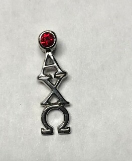 Super Savings - Alpha Chi Omega Sterling Silver Lavaliere Pendant with Swarvoski Red Crystal - SILVER
