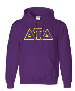 DISCOUNT Delta Tau Delta Lettered Hooded Sweatshirt