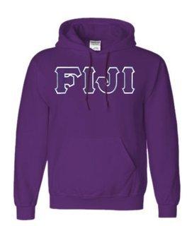 DISCOUNT FIJI Fraternity Lettered Hooded Sweatshirt