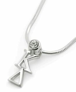 Kappa Delta Sterling Silver Lavaliere Pendant with Swarovski Clear Crystal