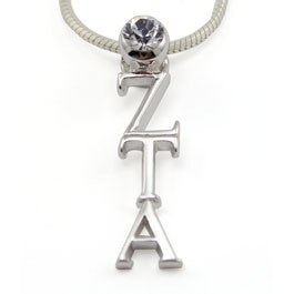 Sorority Sterling Silver lavaliere with Swarovski clear crystal