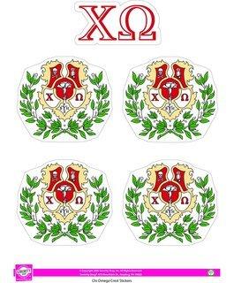 Chi Omega Crest Sticker Sheet