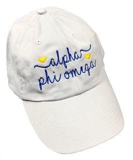 Alpha Phi Omega Script Hearts Ball Cap