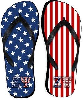 Zeta Psi American Flag Flip Flops