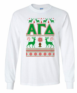 Alpha Gamma Delta Ugly Christmas Sweater Long Sleeve T-Shirt