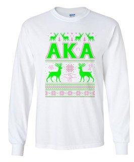 Alpha Kappa Alpha Ugly Christmas Sweater Long Sleeve T-Shirt