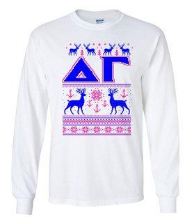 Delta Gamma Ugly Christmas Sweater Long Sleeve T-Shirt