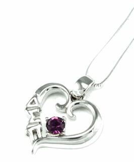 Delta Sigma Pi Sterling Silver Heart Pendant with Swarovski� Purple Crystal