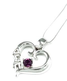 Delta Sigma Pi Sterling Silver Heart Pendant with Swarovski� Purple Crystal