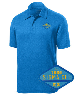 DISCOUNT-Sigma Chi Woven Emblem Greek Contender Polo