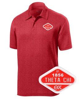 DISCOUNT-Theta Chi Woven Emblem Greek Contender Polo