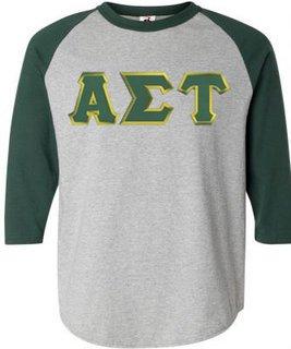 DISCOUNT-Alpha Sigma Tau Lettered Raglan Shirt