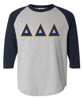 DISCOUNT-Delta Delta Delta Lettered Raglan Shirt
