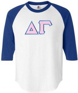 DISCOUNT-Delta Gamma Lettered Raglan Shirt