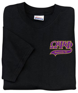 DISCOUNT-Omega Psi Phi T-Shirt, embroidered letters and swoosh