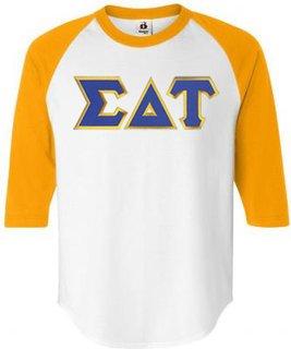 DISCOUNT-Sigma Delta Tau Lettered Raglan Shirt