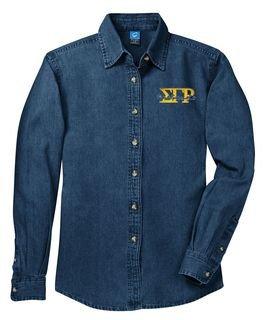 DISCOUNT-Sigma Gamma Rho Denim Shirt - Signature Emblem