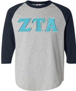 DISCOUNT-Zeta Tau Alpha Lettered Raglan Shirt