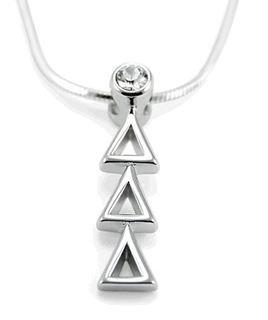 Delta Delta Delta Sterling Silver Lavaliere Pendant with Swarovski Clear Crystal