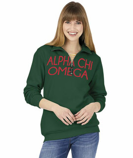 Alpha Chi Omega Crosswind Over Zipper Quarter Zipper Sweatshirt