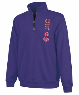 Alpha Kappa Delta Phi Crosswind Quarter Zip Twill Lettered Sweatshirt