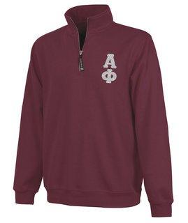 Alpha Phi Crosswind Quarter Zip Twill Lettered Sweatshirt