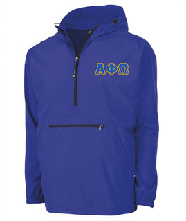 Alpha Phi Omega Tackle Twill Lettered Pack N Go Pullover