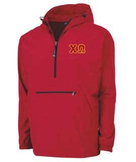 Chi Omega Tackle Twill Lettered Pack N Go Pullover
