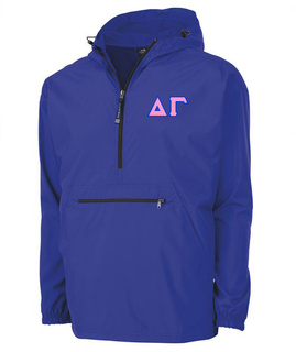 Delta Gamma Tackle Twill Lettered Pack N Go Pullover
