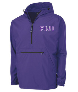 FIJI Fraternity Embroidered Lettered Pack N Go Pullover