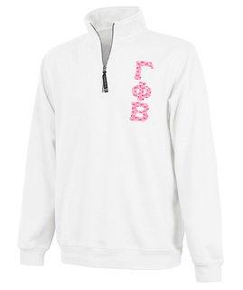 Gamma Phi Beta Crosswind Quarter Zip Twill Lettered Sweatshirt