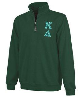 Kappa Delta Crosswind Quarter Zip Twill Lettered Sweatshirt