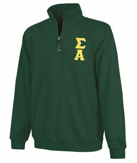 Sigma Alpha Crosswind Quarter Zip Twill Lettered Sweatshirt