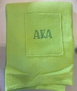The New Super Savings - Alpha Kappa Alpha Carson Letter Towel Wrap - GREEN