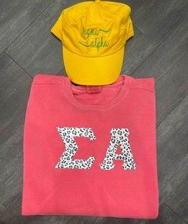 The New Super Savings - Sigma Alpha Comfort Colors Crewneck and Baseball Hat Set - WATERMELON AND GOLD