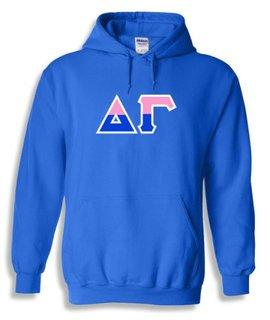 Delta Gamma Two Tone Greek Lettered Hooded Sweatshirt