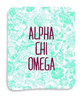 Alpha Chi Omega Floral Sherpa Lap Blanket