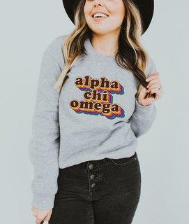 Alpha Chi Omega Retro Maya Comfort Colors Crewneck Sweatshirt